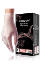 Перчатки виниловые BENOVY, M, прозрачные, 100штук/50пар